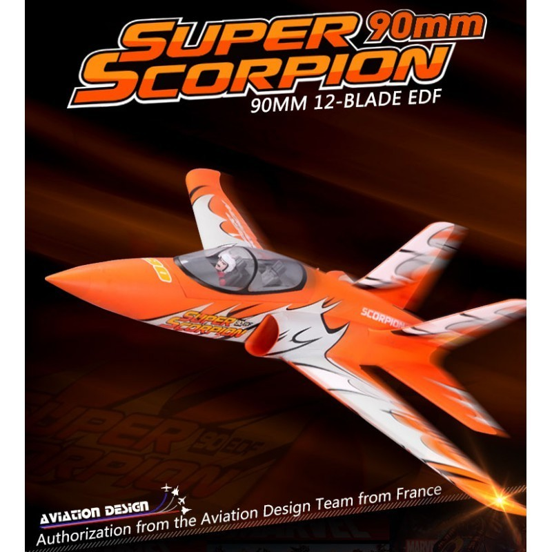 Super Scorpion Orange Jet 90mm EDF PNP kit FMS - Modellbau